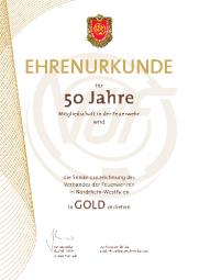 Urkunde für Ehrennadel